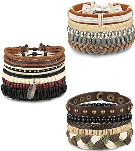 (FIBO STEEL 15-16 Pcs Braided Leather Bracelets for Men Women Woven Cuff Bracelet Adjustable,FS)