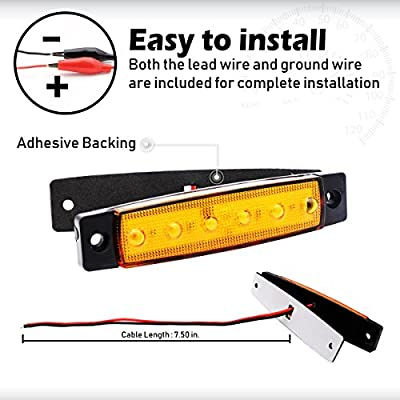 Meerkatt 2X 3.8 Inch Amber 12V Front Side Marker 6 LED Trailer Truck Lorry Indicators Lights, Amber Rear Led Marker Clearance Trailer Parking Turn Signal lights for Truck Bus Boat Rv Lorries Jeep Suv: Automotive