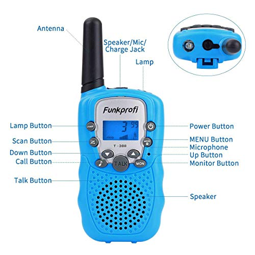 Funkprofi Walkie Talkies for Kids 22 Channels Long Range Rechargeable Walkie Talkies with Battery and Charger, Gift for Boys and Girls, 1 Pair (Blue) by Funkprofi (Image #4)