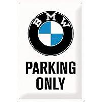 Nostalgic-Art Retro Tin Sign – BMW – Parking Only White – Gift idea for car accessoires fans, Metal Plaque, Vintage…