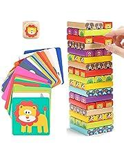 Nene Toys - Byggtorn av Trä för Barn 4 i 1 Djur och Färger - Familjespel med Klossar för Flickor och Pojkar i åldern 3-9 år - Pedagogisk Leksak som Utvecklar Barns Kognitiva Förmågor