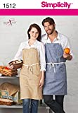 Simplicity 1512 Misses' and Men's Apron with Pockets A (Small-Medium-Large)