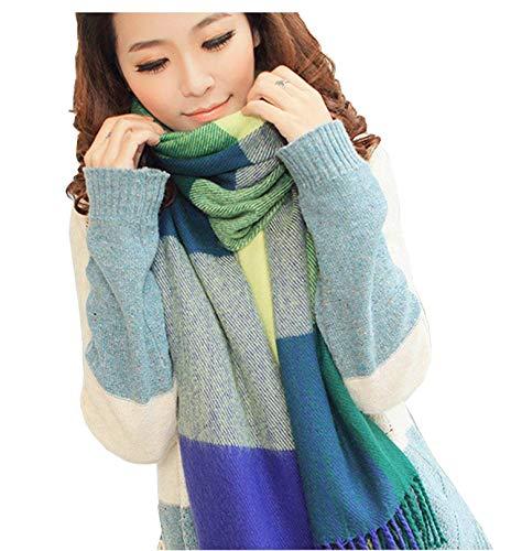Womens Fashion Long Plaid Shawl Big Grid Winter Warm Lattice Large Scarf For Womens