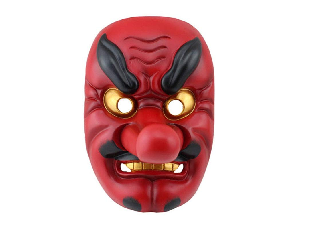 Sasa Halloween-Maske Theatermaske Maske aus Harz Buddhistische Maske Samurai-Maske Japanische Tengu-Maske, rot