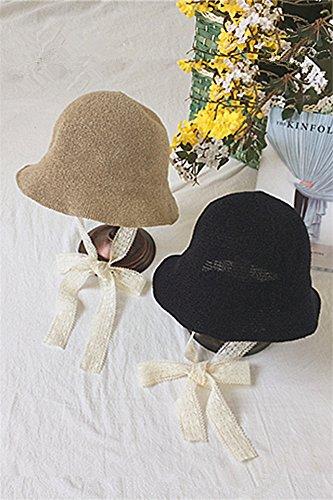 (Generic Korean_style_of new_ strap _knit_pots hat women girls summer _wild_fold_mono_ hats lovely)