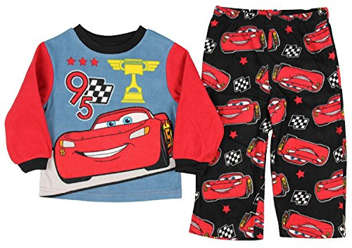 Disney Toddler Boys' Pixar Cars 3 Lightning McQueen Fleece Pajama Set (2T) by Disney
