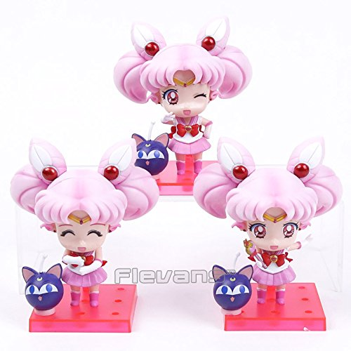 Sailor Moon Sailor Chibimoon Chibi Usa with Luna P PVC Figures Collectible Model Toys 3pcs/set 11cm