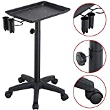 allgoodsdelight365 Professional Salon Trolley Aluminum Trolley Hair Instrument Tray Caddy Black Bonus free ebook By