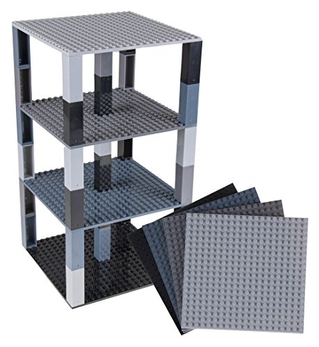 Strictly Briks Classic Baseplates 6 x 6 Brik Tower 100% Compatible with All Major Brands | Building Bricks for Towers and More | 4 Black & Grat Stackable Base Plates & 30 Stackers