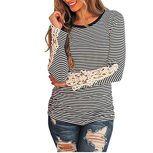 Sunhusing Women Cozy Solid Color Long Sleeve Applique Cuff Round Neck Top Casual T-Shirt Black