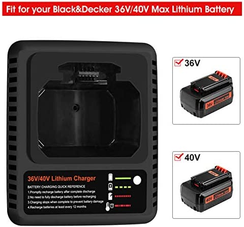 40 Volt 3.0Ah LBXR36 Battery and LCS36 Charger Compatible with Black and Decker 36V/40V Lithium Battery LBXR2036 LBX36 LBX1540 LBX2040 LBX2540 LST540 LCS1240 LST136W