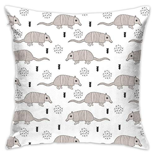 Cute Quirky Armadillo Cactus Woodland Fun Wester Theme Kids Animals Pattern Black and White Flannel Decorative Square Pillow Cushion Cover Sofa Home Decor Modern 18 X 18 inch(45 X 45 -