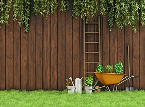 Leowefowa Vinyl 10X8FT Spring Countyard Wood Ladder Farm Tool Green Leaves Vine Grass Meadow Gloomy Stripes Wooden Plank Nature Outdoor Backdrop Photography Background Kids Adults Photo Studio - 8ft Ladder Wooden