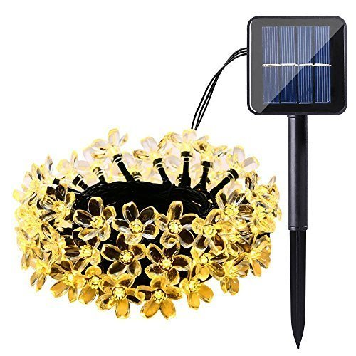 Qedertek Solar Flower String Lights, Cherry Blossom 22ft 50 LED Waterproof Outdoor String Lights for Patio,Lawn,Garden,Holiday and Festivals Decorations ( Warm White)
