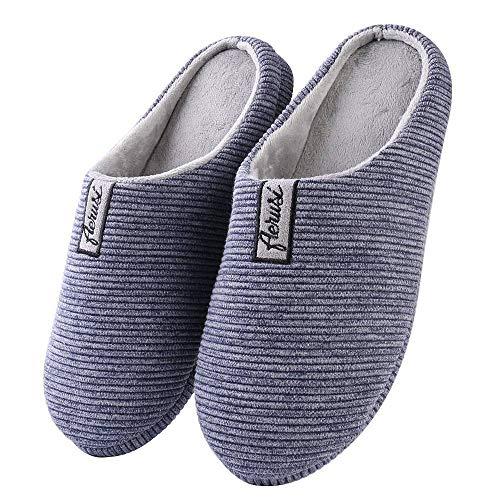 Flat Stripe Blue Navy Shoe (WGS Stylish Unisex Adult Navy Blue/Gray Stripe Memory Foam Bedroom Slipper House Shoes (USA Man Size 6-7 / Woman Size 8-9))