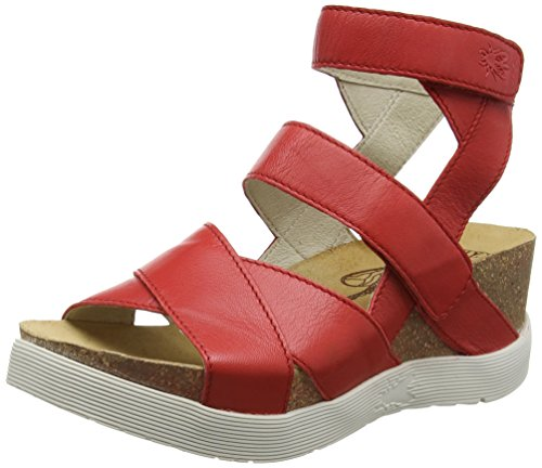 Fly London Kvinners Wege669fly Plattform Sandal Scarlet Mousse