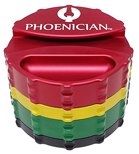 Phoenician-Herbal-Grinder-Large-4-Piece-w-Papers-Holder-Rasta-with-2-Rolling-Paper-Depot-Doobtubes