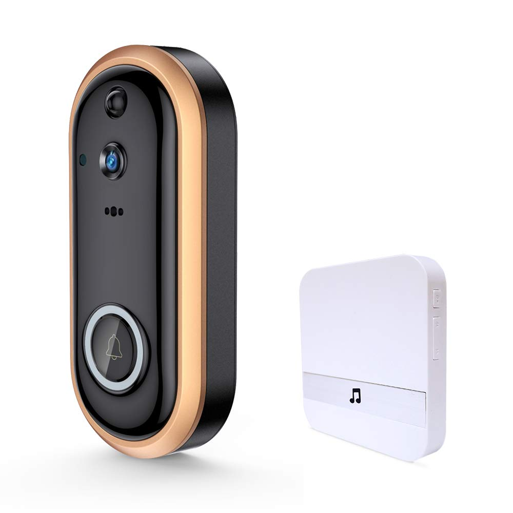 Wireless Video Doorbell, DEFEWAY Smart WiFi 1080P HD Doorbell Camera for Home with Indoor Chime and 32G SD Card, Battery Powered,PIR Motion Detection