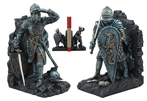 Hand Decorated Chess Set - Ebros Medieval Dragon Heraldry Knight Bookends Statue 8