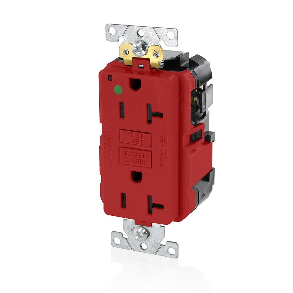 Leviton MGFN2-HGR Lev-Lok Modular Wiring Device 20A-125V Extra-Heavy Duty Hospital Grade Non-Tamper-Resistant Duplex Self-Test GFCI Receptacle, Red