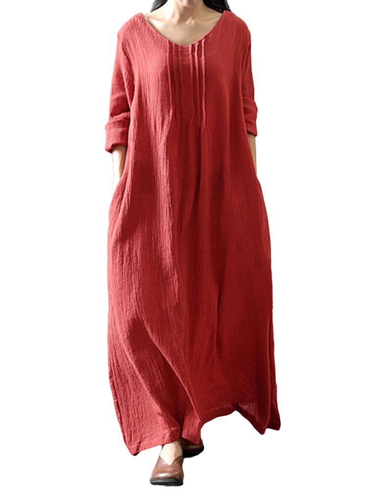 Romacci Women Casual Loose Dress V Neck Long Sleeve Cotton Retro Boho Maxi Dress