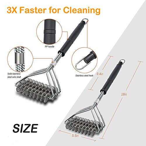 ZOUTOG Bristle Free Grill Brush 3 in 1 Stainless Steel 18'' Cleaning Brush with BBQ Cooking Glove for Weber Gas/Charcoal Grilling Grates by ZOUTOG (Image #2)