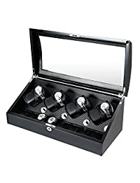 OLYMBROS Wooden Quad Automatic Watch Winder 8+8 Storage Boxes for 16 Watches with LED Light