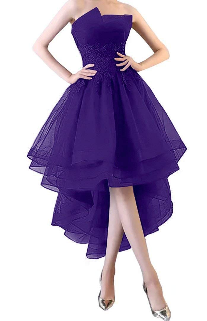 6ed836a78bf6 Formal Lady Women's Ruffles High Low Prom Dresses Lace Applique 2019 ...