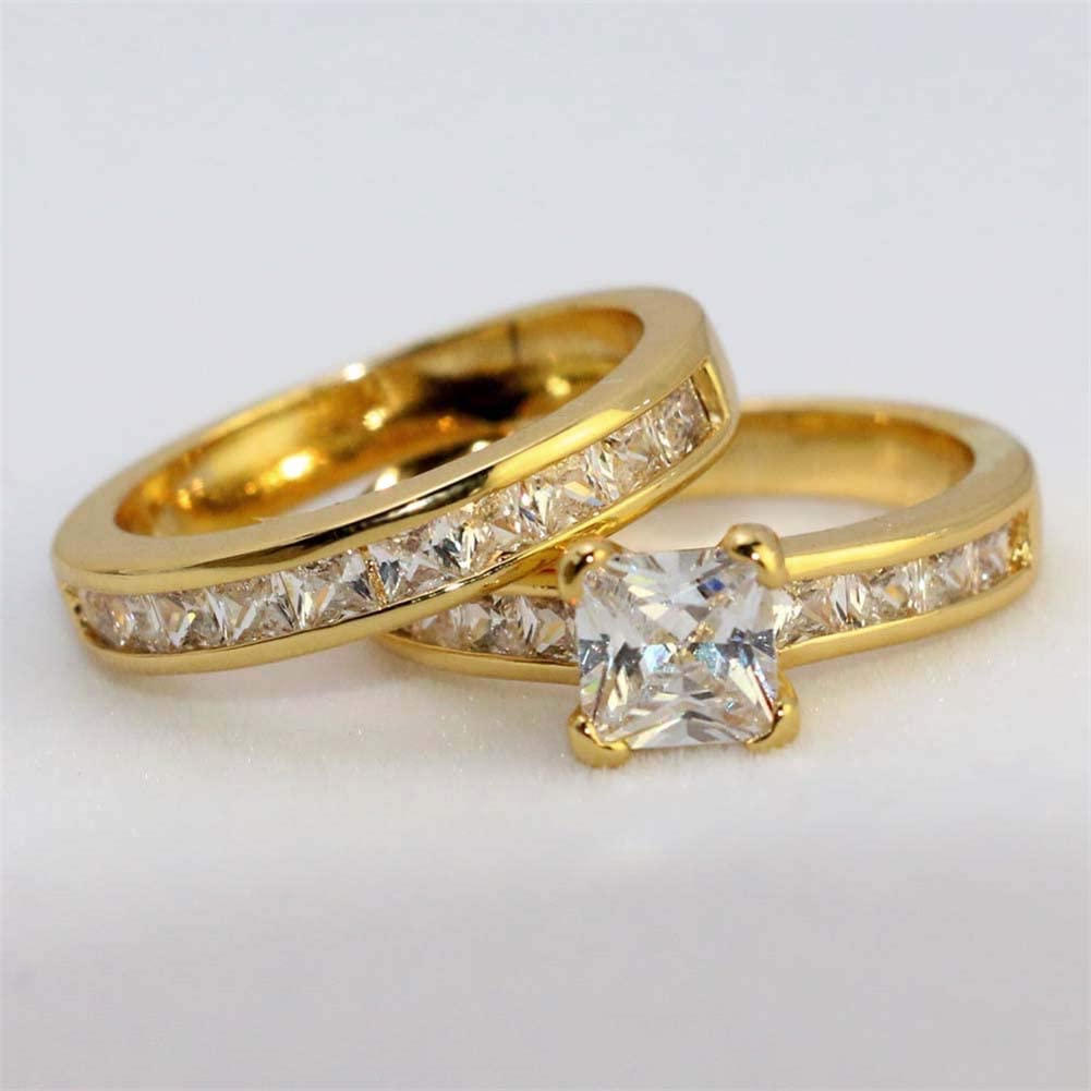 wedding ring Two Rings His Hers Couples Rings Womens Yellow Gold Filled White CZ Wedding Engagement Ring Bridal Sets /& Mens Stainless Steel Wedding Band
