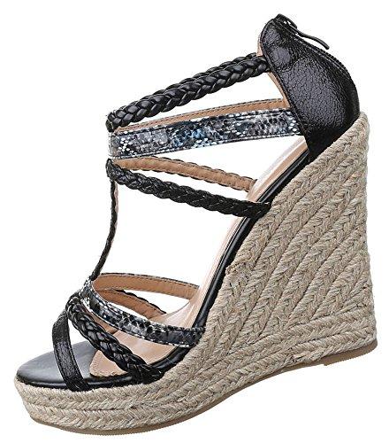 Damen Sandaletten Schuhe Keilabsatz Wedges Plateau Pumps Schwarz 36 37 38 39 40 41 Schwarz