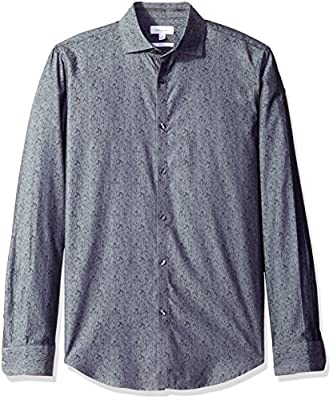 Calvin Klein Men's Slim Fit Long Sleeve Jacquard Button Down Shirt