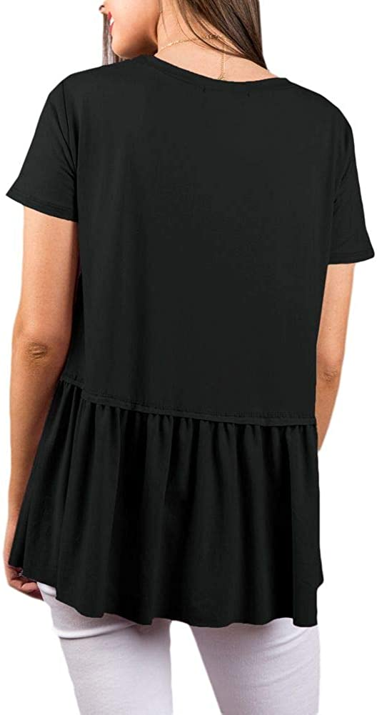 For G and PL Women Causal Ruffle Flare Swing Top Shirt Black