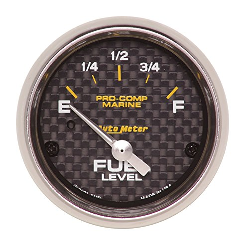 Autometer Fuel Level - AutoMeter 200760-40 Marine Electric Fuel Level Gauge 2-1/16 in. Carbon Fiber Dial Face Silver Pointer White Incandescent Lighting Air Core 240 Ohms Empty/33 Ohms Full Marine Electric Fuel Level Gauge