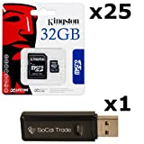 25 PACK - Kingston 32GB MicroSD HC Class 4 TF MicroSDHC TransFlash Memory Card SDC32/32GB 32G 32 GB GIGS (M.A32.RTx25.550) LOT OF 25 with USB SoCal Trade© SCT Dual Slot MicroSD & SD Memory Card Reader - Retail Packaging