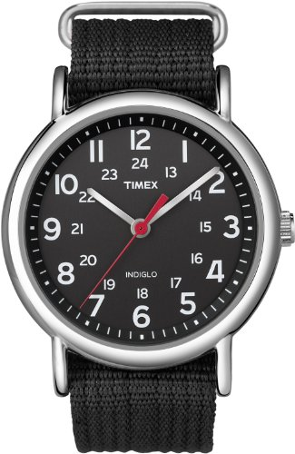 Timex Unisex T2N647 Weekender Black Nylon Slip-Thru Strap - Series Dial Silver Red