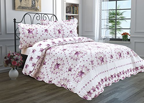 2 Piece Quilt Set with Sham Reversible Bedspread Matelasse Bedcover Double-Sided Bedding Coverlet Lightweight Comforter Linen Looking Luxurious Bed Cover (Twin, Purple Bouquet)