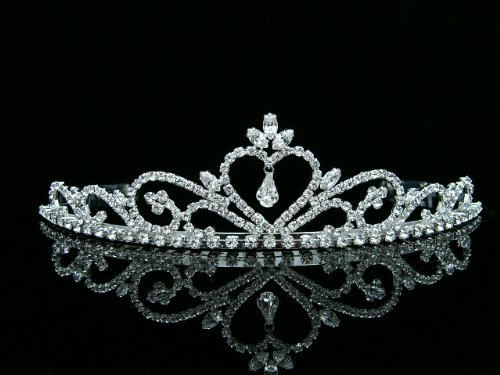 Rhinestone Crystal Heart Bridal Wedding Prom Princess Tiara Crown ()