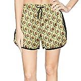 XULANG Woman Vintage Avocado Pattern Beach Shorts Jogging Street Swimwear Quick Dry Boardshorts