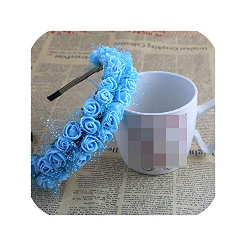 Almighty-Shop 1Pc Women Bohemian Style Beach Flower Lace Hair Bands Headband Hair Accessory 9 Color Bride Wedding Hair Jewelry,Blue ()