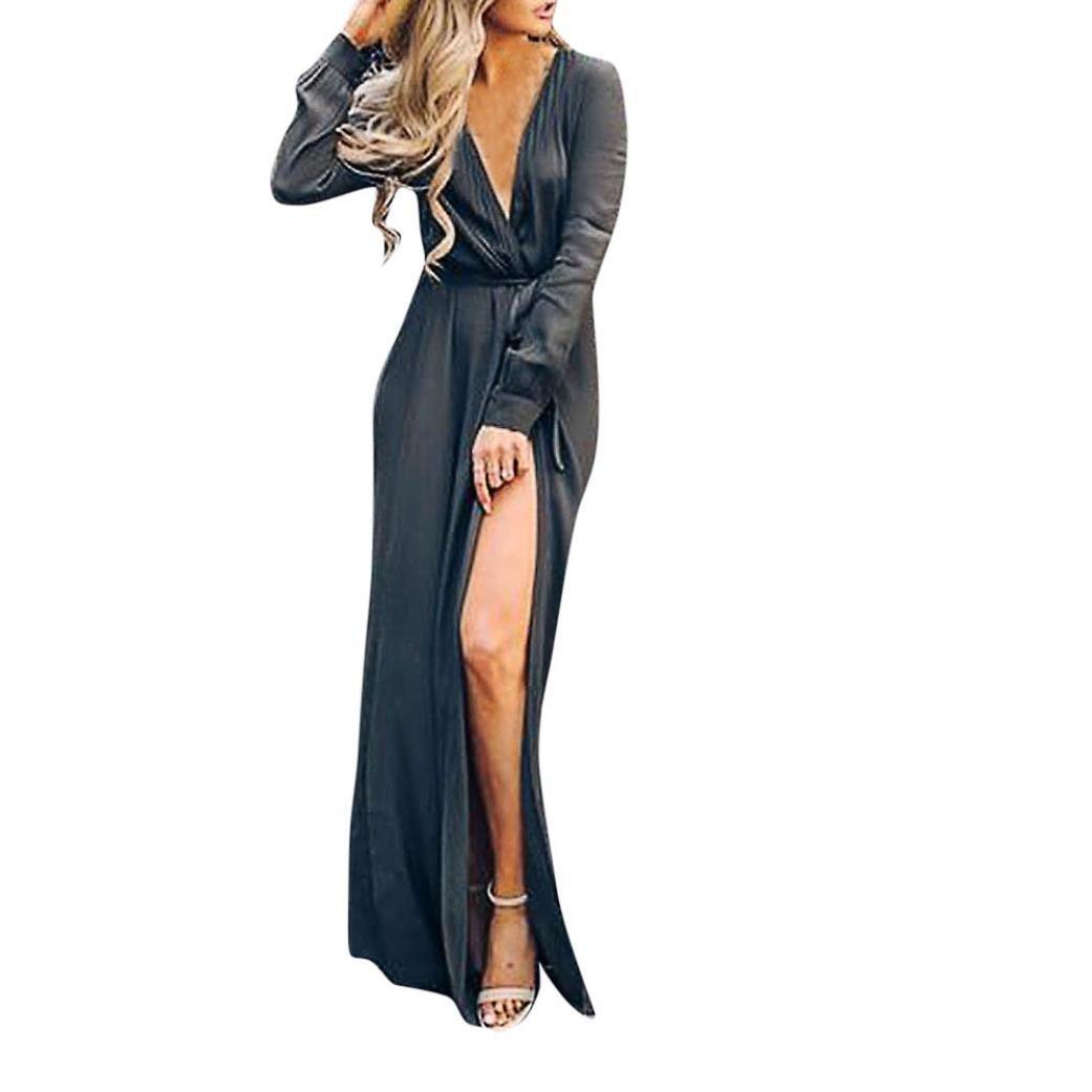Sttech1 Women Long Sleeve Dress Waist Plain Maxi Dresses Casual Long Dresses V-Neck Solid Belt Bandage Loose Long Dress (S, Navy)