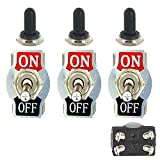 E Support Car Univeral Heavy Duty 20A 125V DPST 4Pin ON/OFF Rocker Toggle Switch Metal Waterproof Boot Cap 12mm Pack of 3