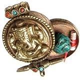 Huge Tibetan Turquoise Coral Gemstone Golden Elephant GOD Ganesh Ganesha Ghau Prayer Box Amulet Pendant
