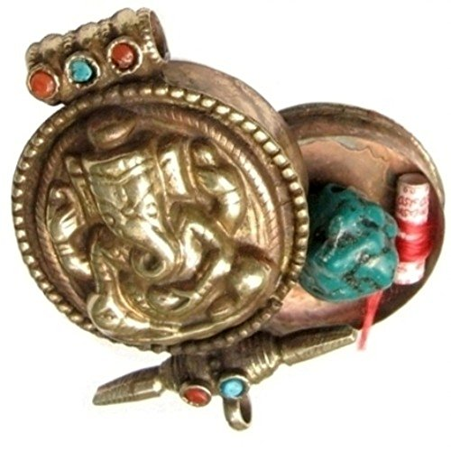 Huge Tibetan Turquoise Coral Gemstone Golden Elephant GOD Ganesh Ganesha Ghau Prayer Box Amulet Pendant (Turquoise Ghau Box)