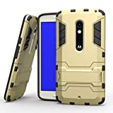 MOONCASE Moto X Play Case Detachable 2 in 1 Hybrid Armor Case Dual-Layer Shockproof Case Cover with Built-in Kickstand for Motorola Moto X Play Gold