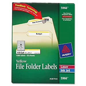 Avery® Yellow File Folder Labels for Laser and Inkjet Printers with  TrueBlock(TM) Technology, 2/3 inches x 3-7/16 inches, Box of 1500 (5966)