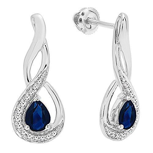 (14K White Gold 5X4 MM Each Pear Blue Sapphire & Round Diamond Infinity Drop Earrings)