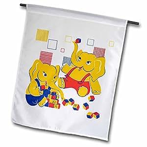 TNMPastPerfect Christmas - Cute Elephants Building Blocks - 18 x 27 inch Garden Flag (fl_97923_2)