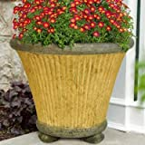 MPG 20 in. Round Sandstone Cast Stone Fluted Pot with Feet and Granite Accents
