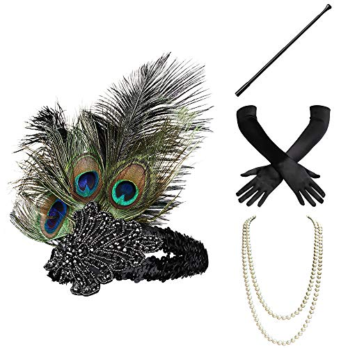 - BABEYOND 1920s Flapper Gatsby Costume Accessories Set 20s Flapper Headband Pearl Necklace Gloves Cigarette Holder (Set-1)