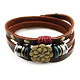 Multilayer Leather Personality Hematite Lucky Lotus Flower Snap Button Wrap Bracelet